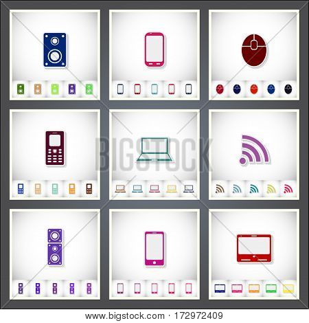 Computer. A set of flat stickers with shadow on white background. Vector illustration