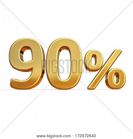 3d render: Gold 90 Percent Off Discount Sign
