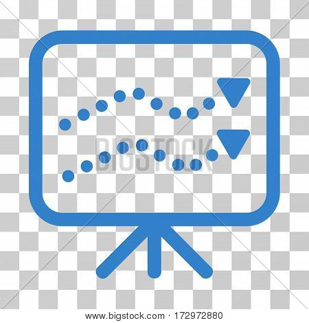 Financial Trends vector pictograph. Illustration style is flat iconic cobalt symbol on a transparent background.
