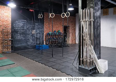 Interior of the gym for fitness workout