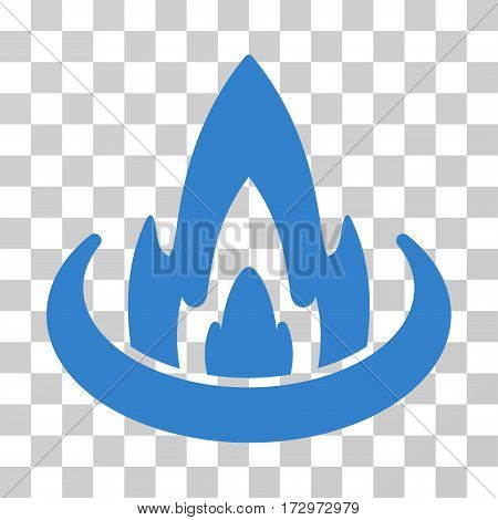 Fire Location vector pictograph. Illustration style is flat iconic cobalt symbol on a transparent background.