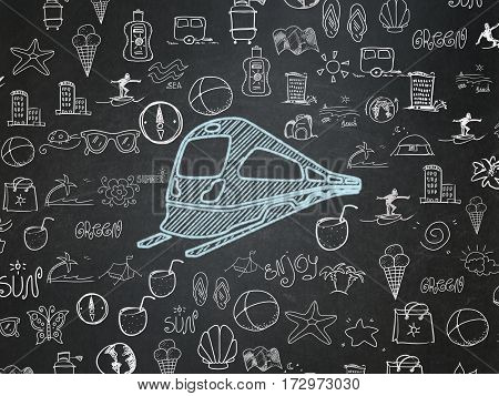 Tourism concept: Chalk Blue Train icon on School board background with  Hand Drawn Vacation Icons, School Board