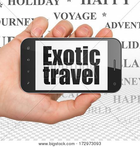 Vacation concept: Hand Holding Smartphone with  black text Exotic Travel on display,  Tag Cloud background, 3D rendering