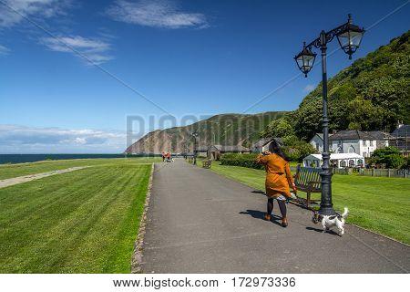 Lynmouth Devon England 13 July 2016: People walk the dog along the coast.