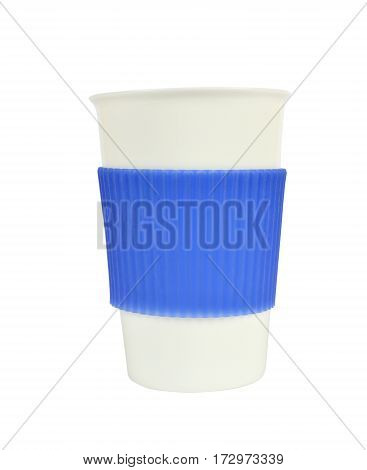 White And Blue Porcelain Cup On White