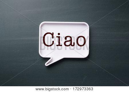 speech bubble with Italian hello
