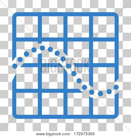 Function Chart vector icon. Illustration style is flat iconic cobalt symbol on a transparent background.
