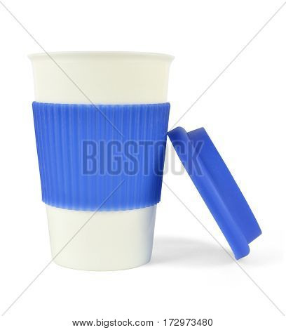 Porcelain Cup With Blue Thermo Sleeve And Lid