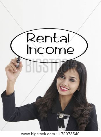 businesswoman holding a marker pen writing -rental income