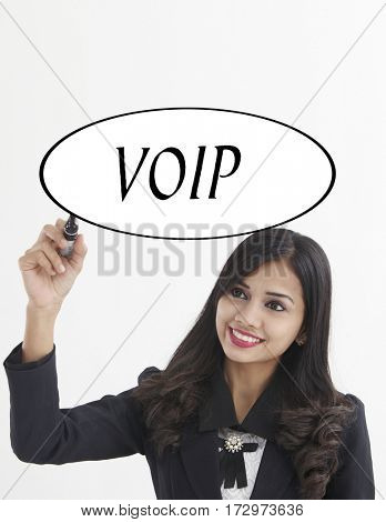 businesswoman holding a marker pen writing -voip