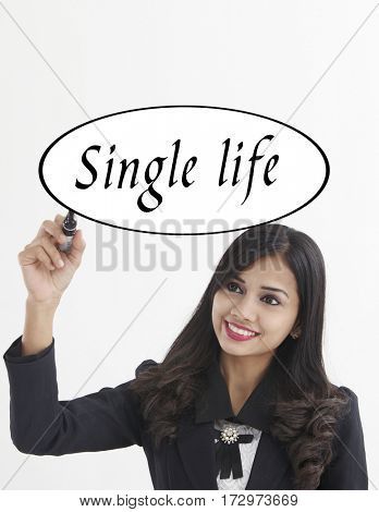 businesswoman holding a marker pen writing -single life