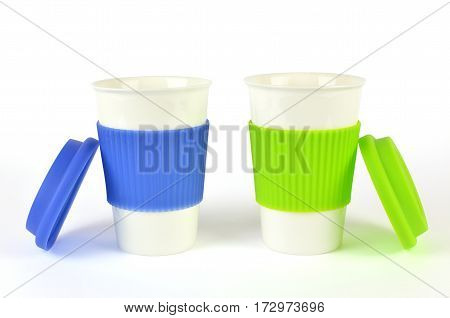 Two White Containers On White