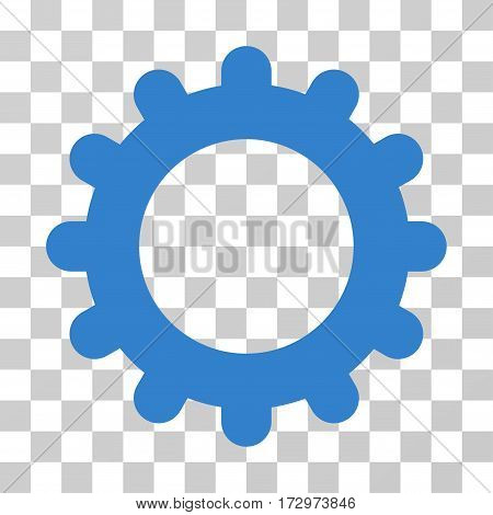 Gear vector pictogram. Illustration style is flat iconic cobalt symbol on a transparent background.