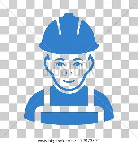 Glad Worker vector icon. Illustration style is flat iconic cobalt symbol on a transparent background.