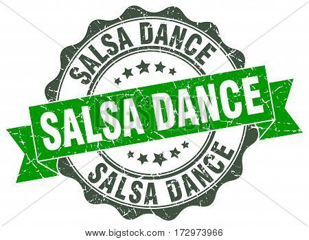salsa dance. stamp. sign. seal. round. retro. ribbon