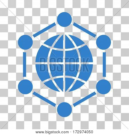 Global Frame vector icon. Illustration style is flat iconic cobalt symbol on a transparent background.