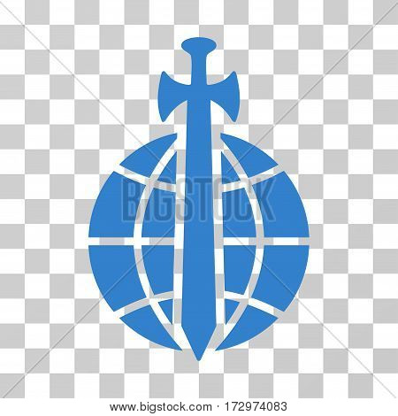 Global Guard vector pictograph. Illustration style is flat iconic cobalt symbol on a transparent background.