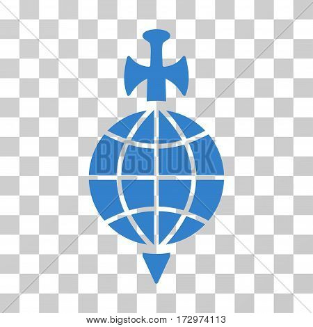 Global Guard vector icon. Illustration style is flat iconic cobalt symbol on a transparent background.