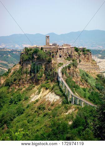Ghost town, Civita di Bagnoregio Bridge, Castle, Beautiful view of famous Civita di Bagnoregio with Tiber river valley, Italy