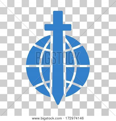 Global Guard vector pictogram. Illustration style is flat iconic cobalt symbol on a transparent background.