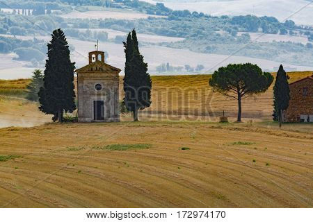 Typical landscape in Tuscany, small chapel and cypress on the hills of Val d'Orcia - Italy