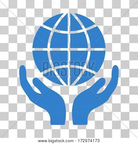 Global Hands vector pictogram. Illustration style is flat iconic cobalt symbol on a transparent background.