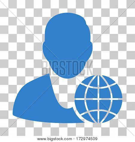Global Manager vector pictograph. Illustration style is flat iconic cobalt symbol on a transparent background.