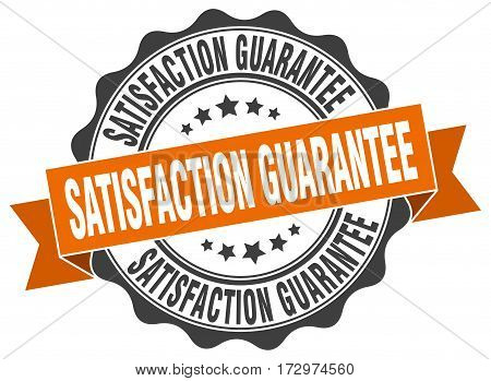 satisfaction guarantee. stamp. sign. seal. round. retro. ribbon