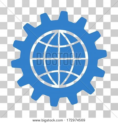 Global Options vector pictogram. Illustration style is flat iconic cobalt symbol on a transparent background.