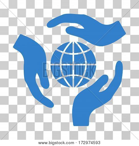 Global Protection vector pictograph. Illustration style is flat iconic cobalt symbol on a transparent background.
