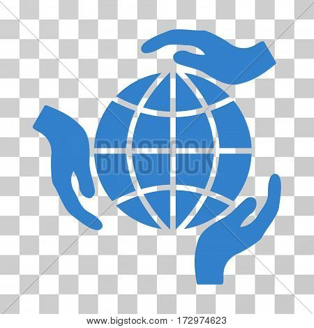Global Protection vector pictogram. Illustration style is flat iconic cobalt symbol on a transparent background.