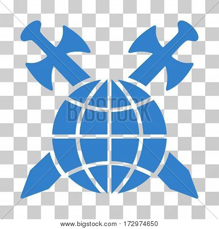 Global Protection vector icon. Illustration style is flat iconic cobalt symbol on a transparent background.