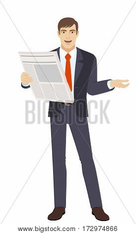 Businessman with newspaper gesturing. Full length portrait of businessman in a flat style. Vector illustration.