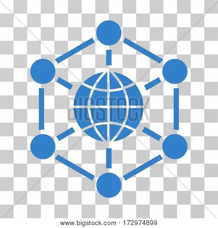 Global Web vector pictograph. Illustration style is flat iconic cobalt symbol on a transparent background.