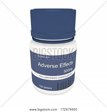 Medicine Concept: Blue Pill Bottle Adverse Effects 3d illustration on white background
