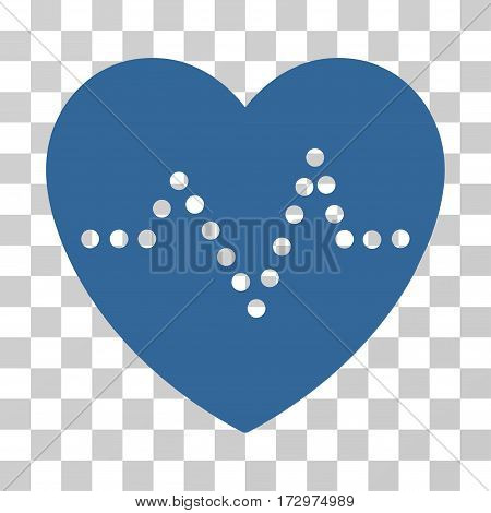 Heart Pulse vector icon. Illustration style is flat iconic cobalt symbol on a transparent background.