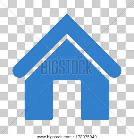 Home vector icon. Illustration style is flat iconic cobalt symbol on a transparent background.