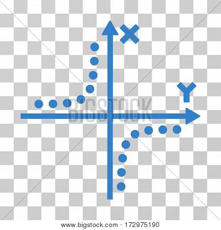 Hyperbola Plot vector pictogram. Illustration style is flat iconic cobalt symbol on a transparent background.