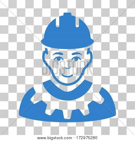 Industrial Builder vector pictograph. Illustration style is flat iconic cobalt symbol on a transparent background.