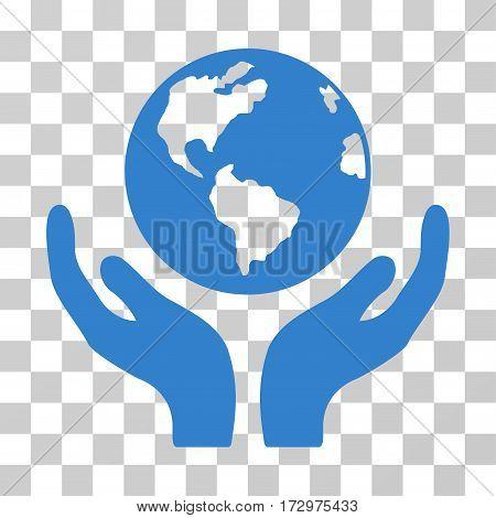 International Insurance vector pictogram. Illustration style is flat iconic cobalt symbol on a transparent background.