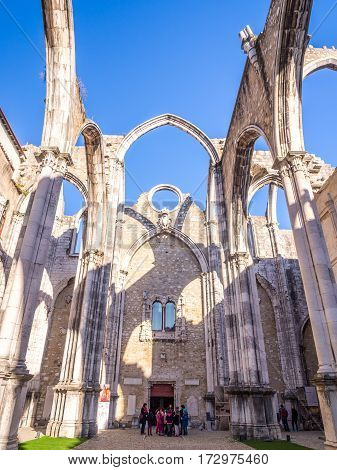 LISBON PORTUGAL - JANUARY 19 2017: Convent of Our Lady of Mount Carmel (Portuguese: Convento da Ordem do Carmo) in Lisbon Portugal.