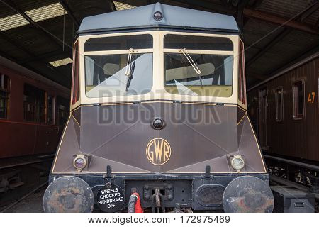 Didcot, UK. 24th July 2016. GWR railcar AEC 22 is in the engine shed at Didcot Railway centre. These units were first used in 1933 and survived in regular use until the mid 1960's.