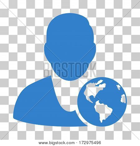 International Manager vector icon. Illustration style is flat iconic cobalt symbol on a transparent background.