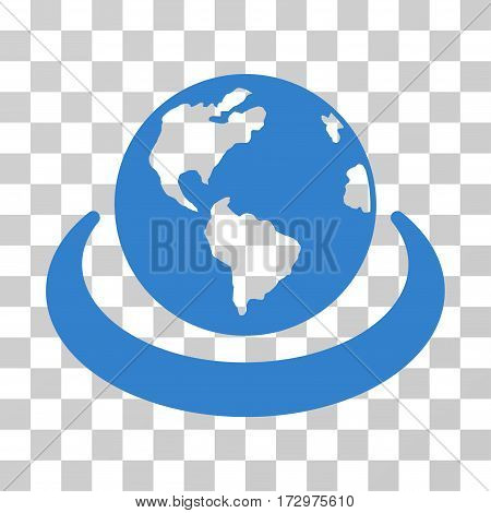 International Network vector icon. Illustration style is flat iconic cobalt symbol on a transparent background.