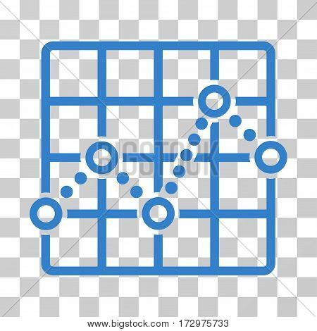 Line Plot vector pictograph. Illustration style is flat iconic cobalt symbol on a transparent background.