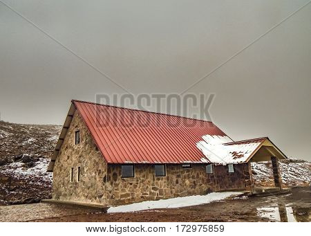 Landscape scene at shelter house in chimborazo mountain located in Ecuador South America