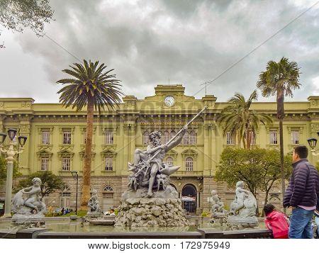 RIOBAMBA, ECUADOR, FEBRUARY - 2105 - Square with monument located at historic center of Riobamba city in Ecuador.