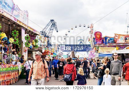 Rostock, Germany - August 2016: Festival Event Party. Markt with People and Attractions
