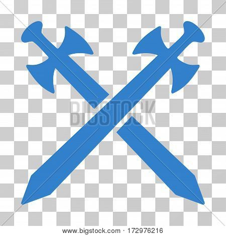 Medieval Swords vector pictograph. Illustration style is flat iconic cobalt symbol on a transparent background.