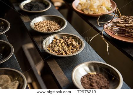 Food background collection with onions, herbs, and peppercorns. Food ingredient